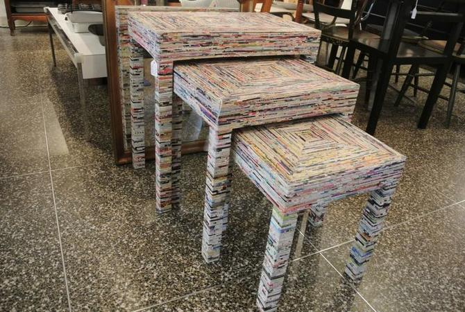 Magazine roll art nesting tables. $60, $55, $45