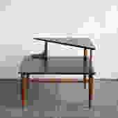 Two-Tier Mid-Century Modern Corner Table