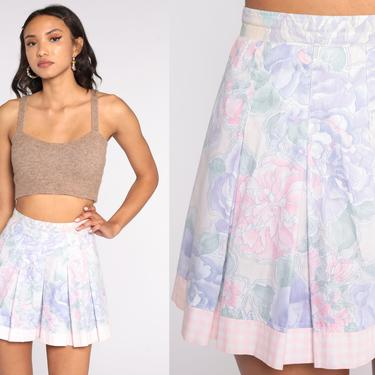 Floral Tennis Skirt 80s Mini Skirt Pastel Pleated Skirt High Waisted Flared Skater Pink Purple 1990s Vintage Extra Small xs 24 by ShopExile