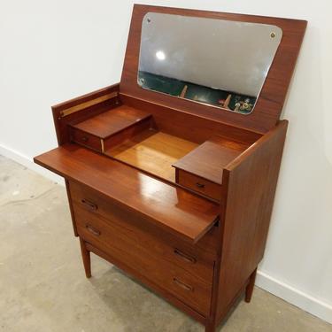 Vintage Danish Modern Teak Vanity Dresser with Mirror by FarOutFindsNYC