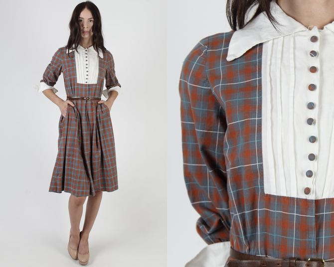 Vintage 50s Cinnamon Plaid Dress / 1950s White Tuxedo Bib / Wide Pointy Dagger Roll Collar / Cotton Preppy Pockets Full Skirt Mini Dress by americanarchive