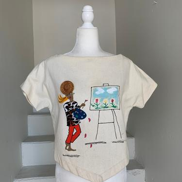 """MCM Linen Cropped Hand Painted Summer Top Vintage 1960's 36"""" Bust by AmalgamatedShop"""