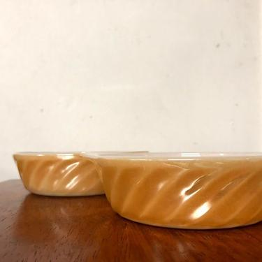 Vintage Anchor Hocking Fire King Peach Lustre Swirl Pair of Small Casserole Dishes by OverTheYearsFinds