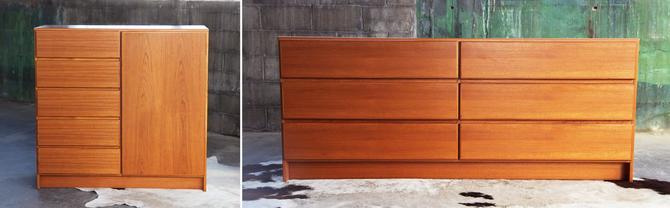 KNOCKOUT Set, PAIR Mid Century Danish Modern Teak Scan Coll Dressers / Credenzas / Bar highboy lowboy Mcm Denmark Scandinavian High QUALITY by CatchMyDriftVintage