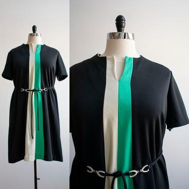 Vintage Lane Bryant Dress / 1970s Black Cocktail Dress XL / Vintage Plus Sized Dress / Vintage Black and White Dress / 1970s Dress XL by milkandice