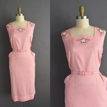 vintage 1950s | beautiful Bubble Gum Pink Silver Beaded Cocktail Party Wiggle Dress | XXL Plus Size | 50s dress by simplicityisbliss