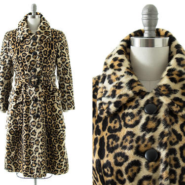 Vintage 1970s Princess Coat | 70s Leopard Animal Print Faux Fur Belted Trench Overcoat (small) by BirthdayLifeVintage