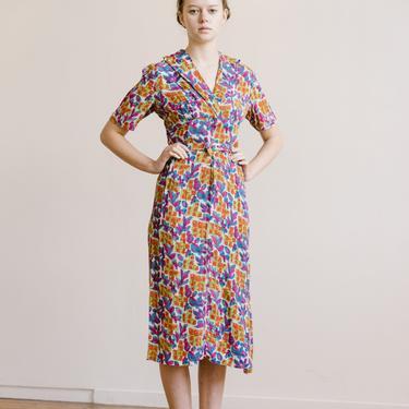 RARE c. 1940s wartime Australian made rayon crepe vibrant printed day dress OOAK matching belt Art deco by DevoreVintage