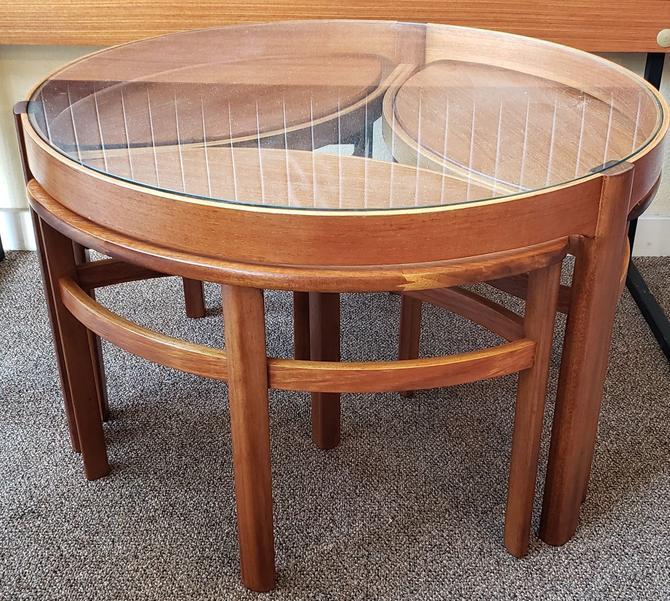 Item #V171 Vintage Teak Glass Top Dining Table w/ Nesting Tables c.1960