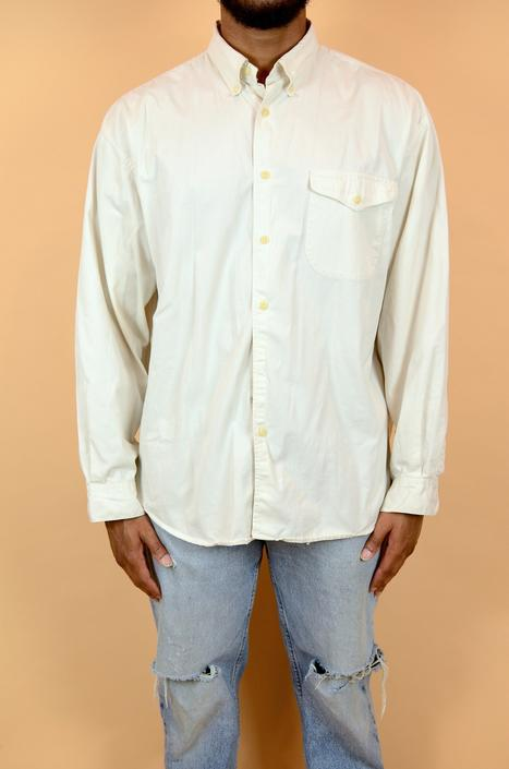 Vintage 90s Dockers Ivory Off White Long Sleeve Oxford Button Down by MAWSUPPLY