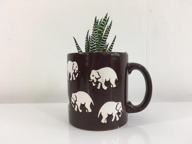 Waechtersbach Elephant Mug Vintage Brown White German Pottery Made in West Germany 1970s 70s Coffee Tea Cup Elephants MCM by CheckEngineVintage