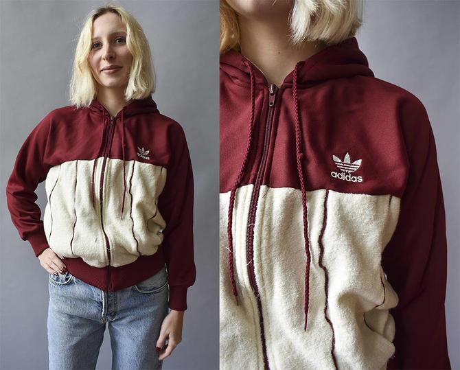 62aab9cb2f3c Vintage Maroon Adidas Jacket   Vintage Terricloth Hoodie   Adidas ...