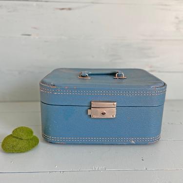 Vintage Small Blue Suitcase, Train Case, Luggage   Antique Suitcase Prop, Photo Shoot, Farmhouse, Rustic, Boho, Wedding Prop, Mantle Decor by CuriouslyCuratedShop