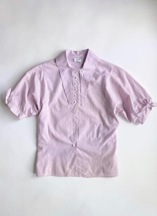 1930s 40s Purple + White Collared Gingham Cotton Blouse Top by hemlockvintage