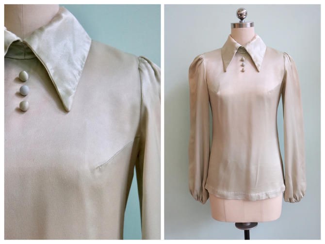 Vintage 1970's 30's Inspired Chartreuse Satin Blouse | Size Extra Small/Small by TroveVintageShop