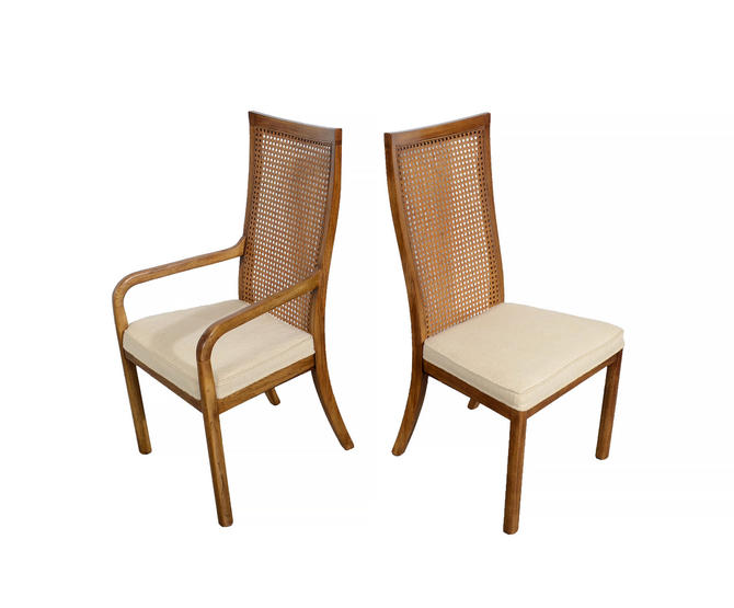 Drexel Heritage Dining Chairs Accolade Walnut Mid Century Modern By Hearthsidehome
