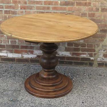 Round Reclaimed Pine Table on Stacked Pedestal with Hand rubbed Wax Finish - IN STOCK (also available in Custom Sizes)