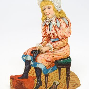 1890 Lion Coffee Antique Advertising Diecut Stand-up, The Shoemaker Series #7, Vintage Paper Ephemera, Doll by exploremag