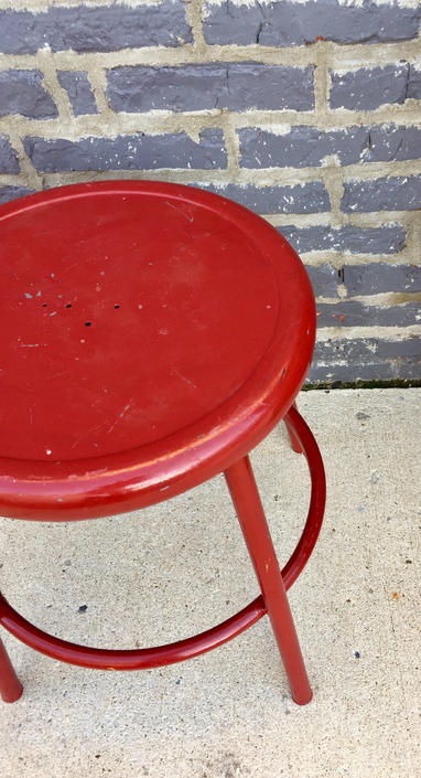 Red Metal Industrial Stool