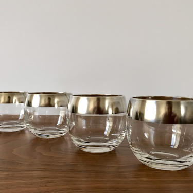 Silver Rimmed Dorothy Thorpe Roly Poly Cocktail Glasses - Set of 4 by TheThriftyScout