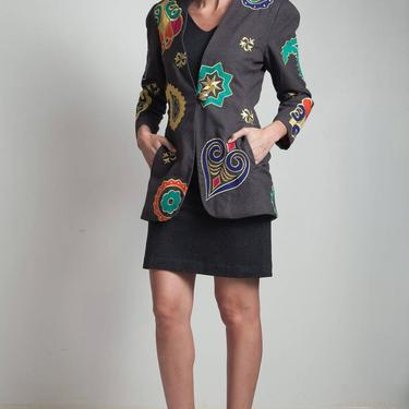 80s vintage kitschy patchwork blazer jacket gray wool colorful embroidery shoulder pads long sleeves LARGE L by shoprabbithole