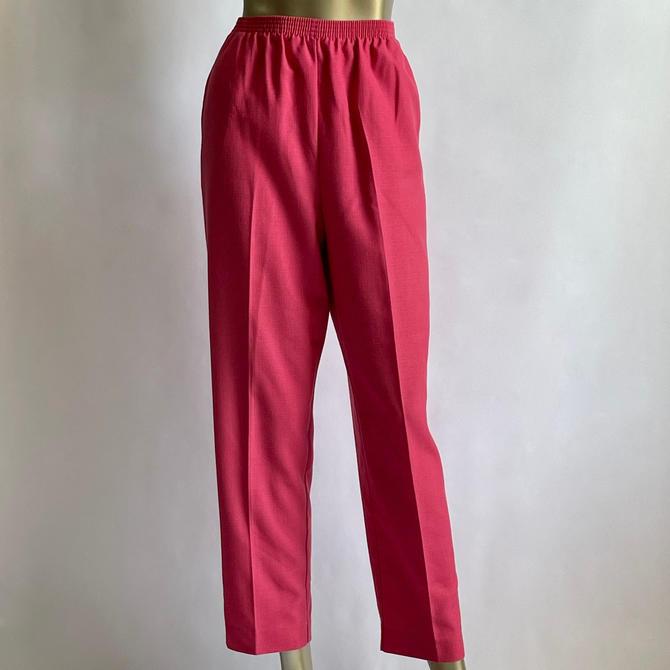 Linen Blend Dark Pink High Waist Comfy 80's Pants fits M - L by BeggarsBanquet