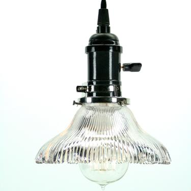 Holophane Pendant with Black Socket (Five Available) #2086 by vintagefilament