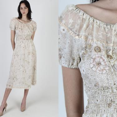 Vintage 70s Garden Floral Dress / Lace Tie Off The Shoulder Chest / Elastic Gathered Smocked Waist / Cream Boho Casual Mini Midi Dress by americanarchive