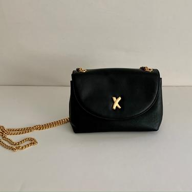 Paloma Picasso black leather crossbody small flap bag w/ signature X clasp by MartinMercantile