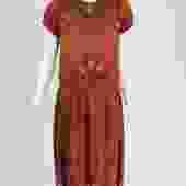 Vintage 1920s copper silk satin beaded flapper dress