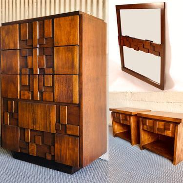 Brutalist Mosaic Bedroom Set (4 pieces) by Lane