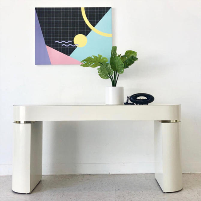 1980's Vintage Console with Brass