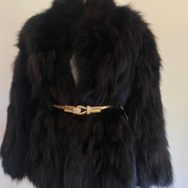 70s's vintage Fur FOX FUR stroller coat, dress coat, vintage fox fur dress coat, opera coat, luxuri made in size  m / l  medium large by RETROSPECTNYC