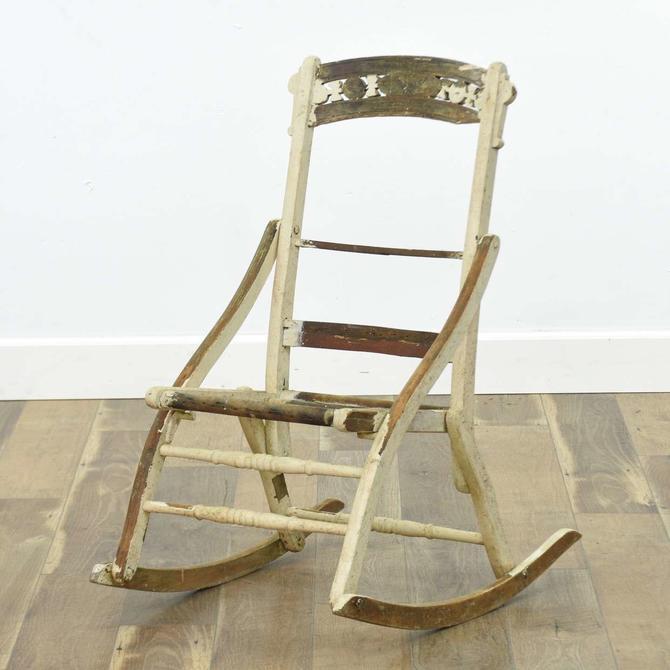 Antique Carved Folding Rocking Chair Frame