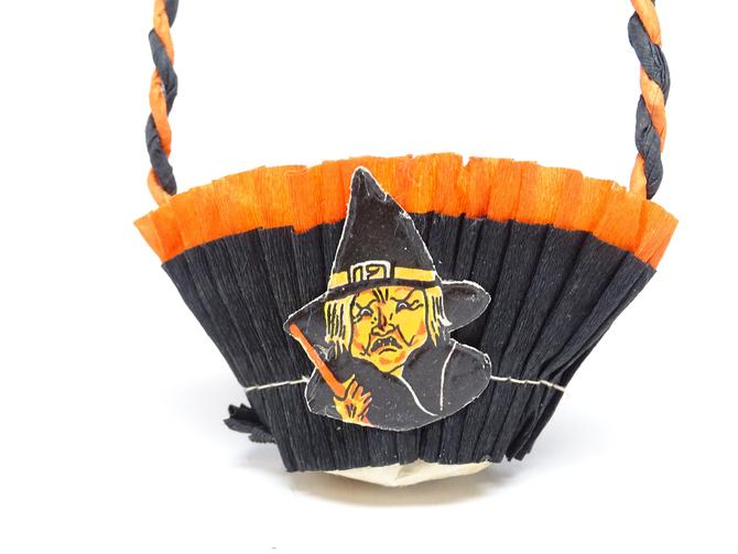 Vintage 1950's Witch Head Halloween Party Basket, Orange and Black Crepe Paper Candy Container Retro Decor by exploremag