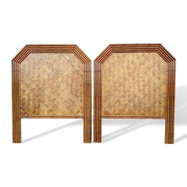 Pair Woven Rattan and Faux Bamboo Twin Headboards by VeronaVintageHome