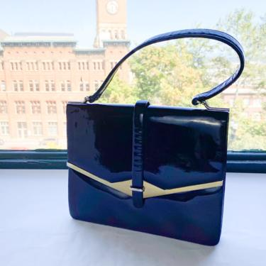1950s Black Patent Handbag   50s Black Patent Leather Purse by GlennasVintageShop