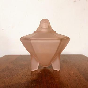 Vintage 1930s Beaumont Glass Pink Satin Art Deco Sphynx Powder Jar Taussaunt King Tut by OverTheYearsFinds