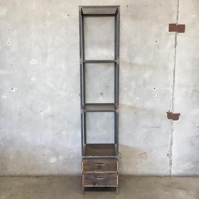 Industrial Tall Shelf with Two Drawers