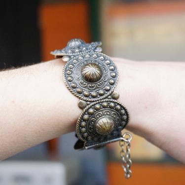 Vintage Silver Medallion Bangle Bracelet, Hinged Silver Bracelet With Intricate Hammered Details, Ornate Silver Bracelet With Pin Closure by shopGoodsVintage