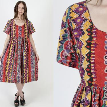 Vintage 90s Colorful Grunge Dress / 1990s Aztec African Print / Ethnic Tribal Babydoll Dress / Womens Gauze Button Up Pockets Dress by americanarchive