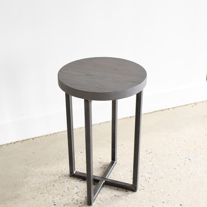 Gray End Table With Reclaimed Wood & Industrial Steel Base / Modern Side Table / Accent Table by wwmake