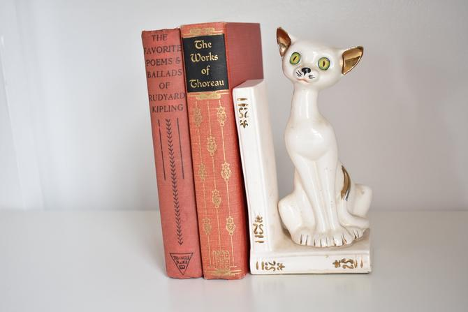 Kitty Cat Ceramic Bookend | Shiny Siamese or Similar Kitten w/ Yellow Green Eyes Sitting on Books | Kitsch Kitty Office Shelf Decor by LostandFoundHandwrks