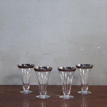 Set of 4 Silver-Rim Parfait Glasses