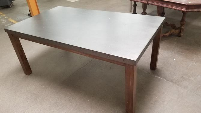 Restoration Hardware Styled Salvaged Oak, Galvanized Steel Nail-Head Trimmed Top Rectangular Dining Table