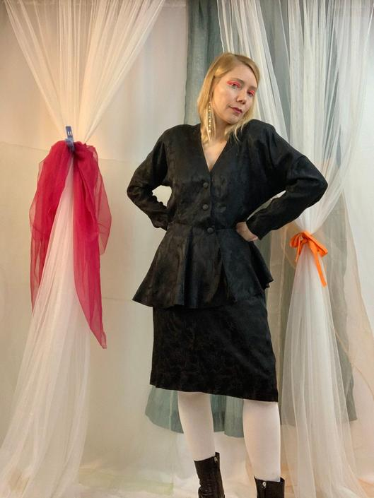 80's handmade satin ruffle suit by shopjournal