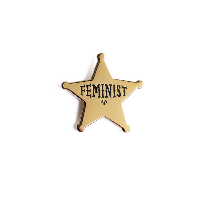 Feminist Star Enamel Pin - Gold Lapel Pin // Hard Enamel Pin, Cloisonné, Pin Badge by shinyapplestudio