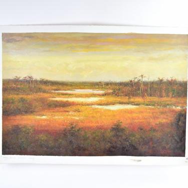 Impressionist Wetlands Prairie at Sunset Landscape Oil Painting signed Monio by PrairielandArt