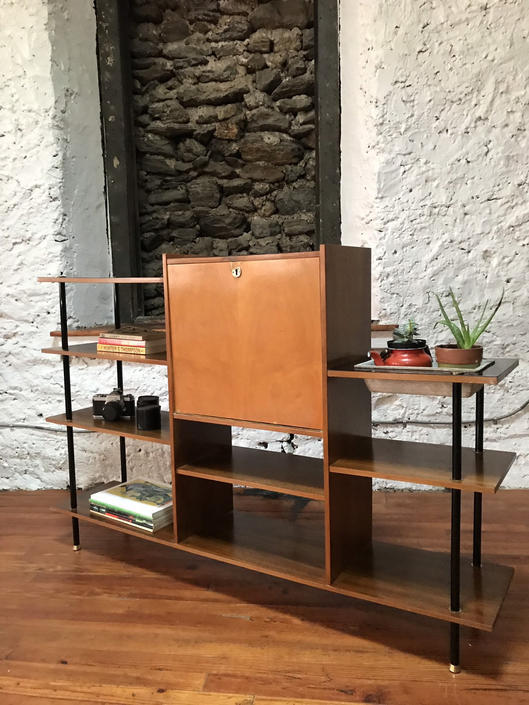 Mid century modern bar cabinet danish modern bookcase mid century modern shelving and plant stand by VintaDelphia