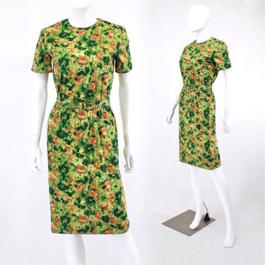 Early 1960s Green & Orange Abstract Floral Wiggle Dress - 1960s Green Wiggle Dress - 60s Green Sheath Dress - 60s Green Dress | Size Small by VeraciousVintageCo